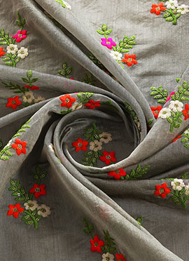Grey Embroidered Chanderi Silk Fabric