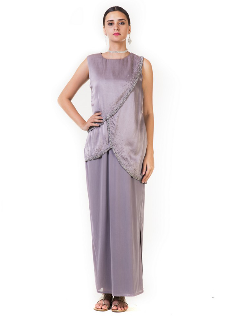 Buy Grey Embroidered Draped Gown, Embroidered, dresses and gown ...