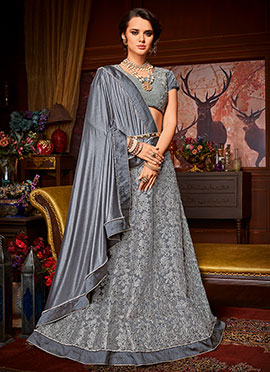 Grey Embroidered Lehenga Saree