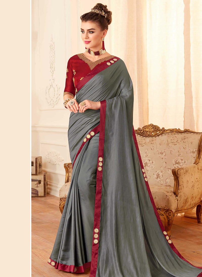 buy grey embroidered saree embroidered sari online shopping