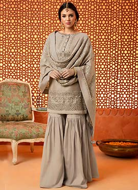 Grey Embroidered Sharara Suit