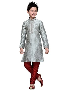 Grey Embroidered Striped Art Silk Boys Kurta Pyjam