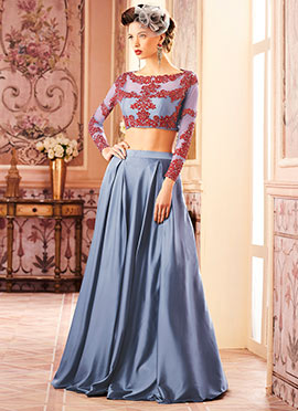 Grey Embroidered Umbrella Lehenga