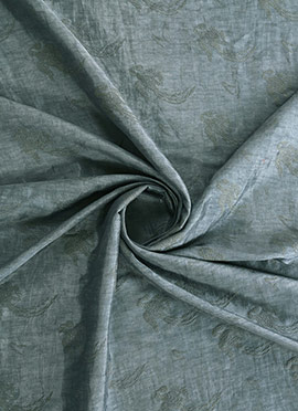 Grey Foil Printed Silky Linen Fabric