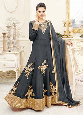 Cool Grey Georgette Abaya Style Anarkali Suit