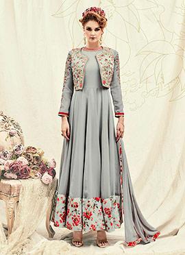 Grey Georgette Abaya Style Anarkali Suit