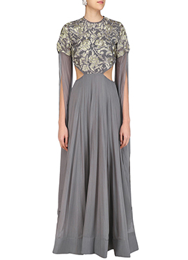 Grey Georgette Anarkali Gown