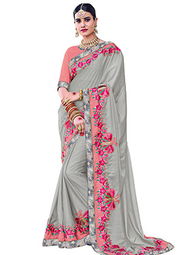 Grey Georgette Border Saree
