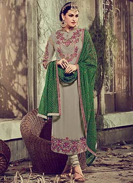 Grey Georgette Embroidered Straight Suit