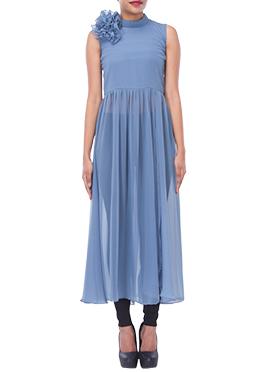 Steel Blue Georgette Long Dress