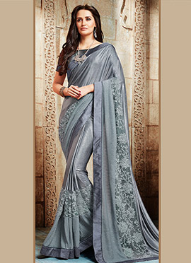 Grey Georgette Saree