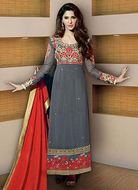 Grey Georgette Straight Pakistani Suit