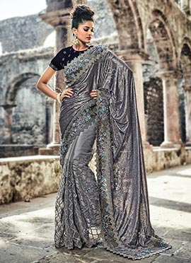 Grey Half N Half Saree