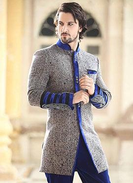 Grey Indo Western Sherwani
