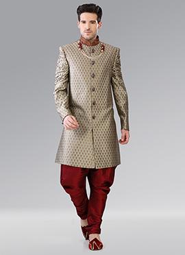 Grey Indowestern Patiala Style Sherwani