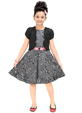 Grey Jacket Style Kids Dress