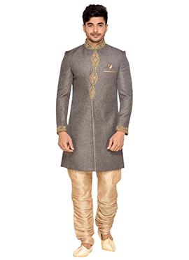 Grey Jute Achkan Sherwani