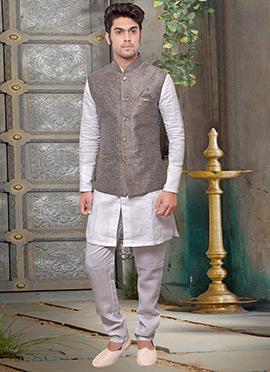 Grey Jute Nehru Jacket