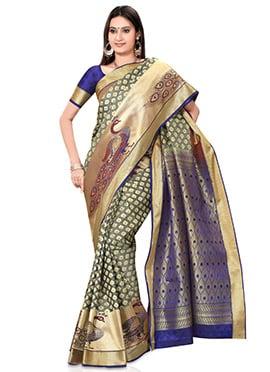 Grey Kancheepuram Pure Silk Saree