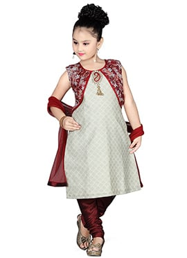 Grey Kids Jacket Style Churidar Suit