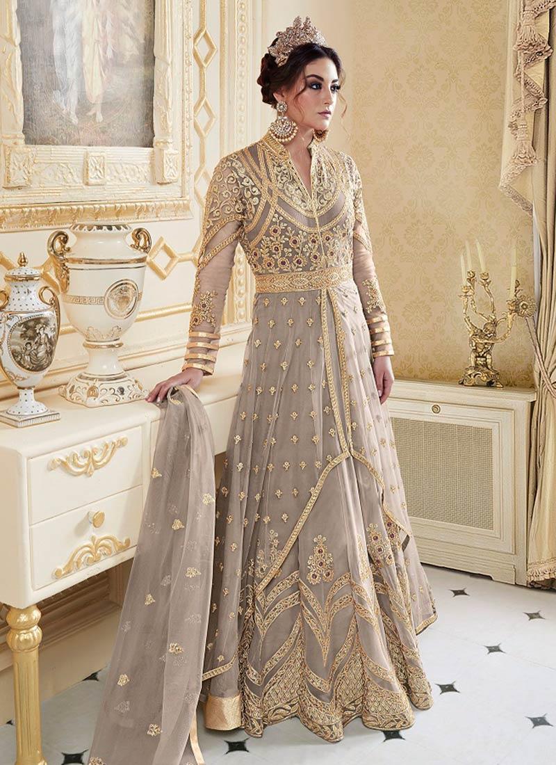 8881c2b7c5d1 Buy Grey Layered Abaya Style Anarkali Suit