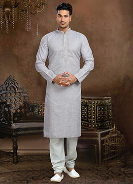 Grey Linen Cotton Kurta Pyjama