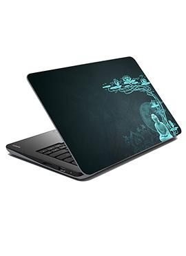 Grey N Aqua Blue Buddha Laptop Skin