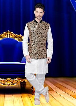 Grey N Beige Art Silk Brocade Nehru Jacket