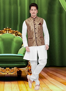 Grey N Beige Art Silk Brocade Nehru Jacket