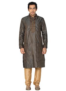 Grey N Beige Art Silk Kurta Pyjama