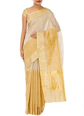 Golden N Beige Kora Silk Saree