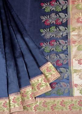 Grey N Beige Pure Handloom Banarasi Silk Saree