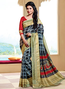 Grey N Black Art Silk Divyanka Tripathi Saree