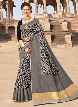 Grey N Black Bhagalpuri Art Silk Saree