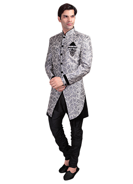 Grey N Black Breeches Style Sherwani