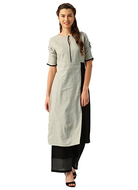 Grey N Black Cotton Kurti