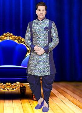 Grey N Blue Art Benarasi Silk Achkan Sherwani
