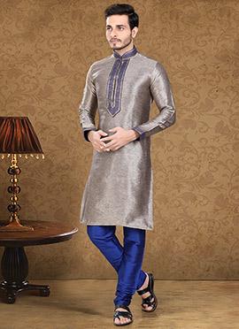 Grey N Blue Art Dupion Silk Kurta Pyjama