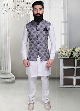 Grey N Blue Brocade Foliage Designed Nehru Jacket