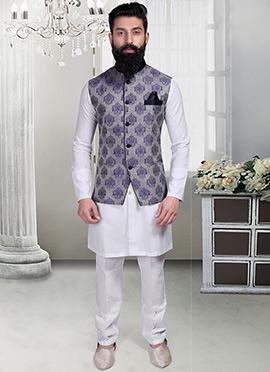 Grey N Blue Brocade Foliage Designed Nehru Jacket