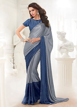 Grey N Blue Georgette Saree