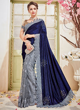 Grey N Blue Half N Half Saree