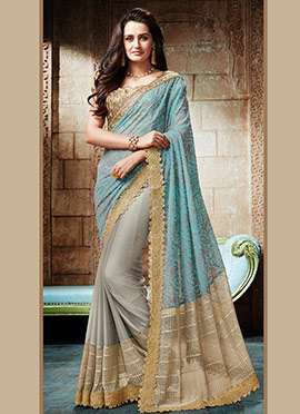 Grey N Blue Net Half N Half Saree