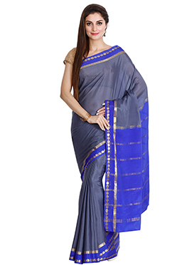 Grey N Blue Pure Mysore Silk Saree