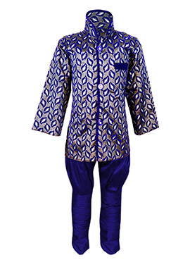 Grey N Blue Silk Cotton Kids Kurta Pyjama
