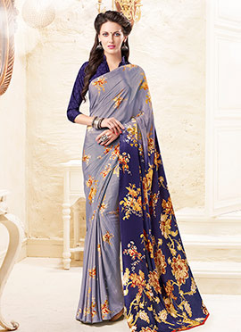 Grey N Blue Silk Crepe Saree