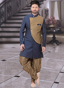 Grey N Brown Art Silk Indowestern Sherwani