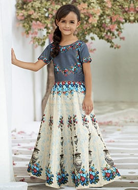 Grey N Cream Art Silk Kids Gown