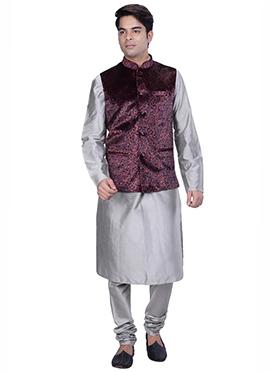 Grey N Dark Maroon Benarasi Silk Cotton Bandi Set