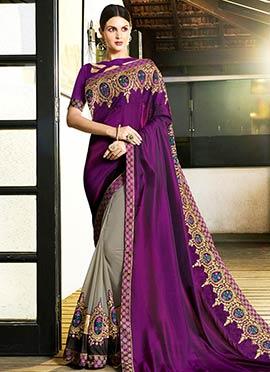 Grey N Dark Purple Embroidered Half N Half Saree